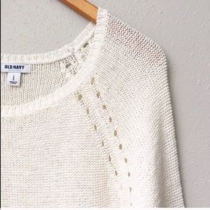Cream Knit Pullover Sweater Old Navy